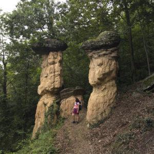ragazza con funghi di pietra