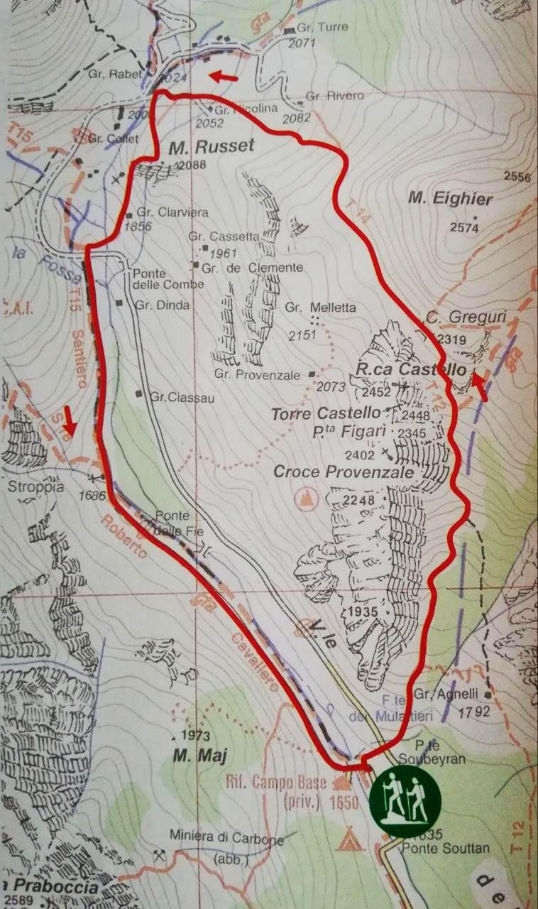 cartina percorso croce provenzale Valle Maira